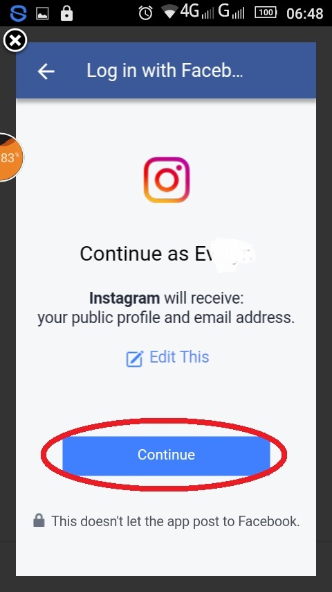 Tombol persetujuan nama Instagram Facebook