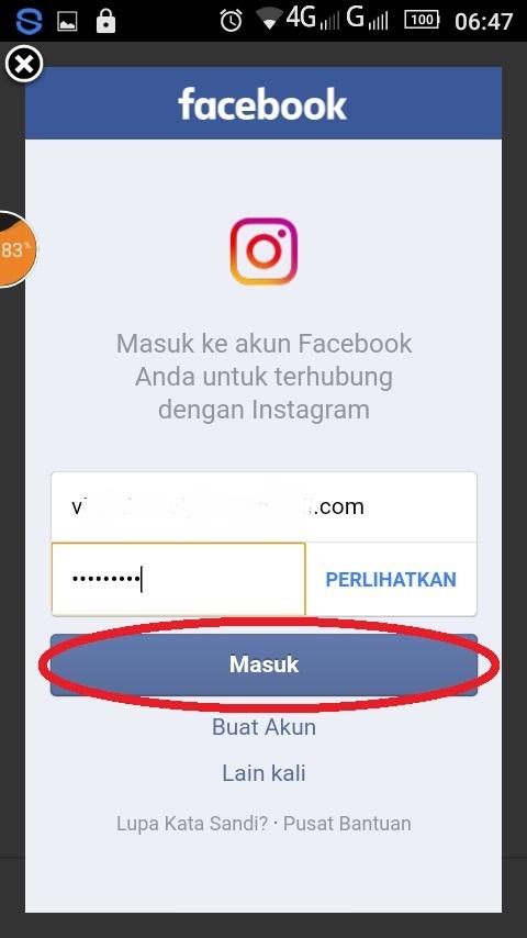 cara masuk atau Log In Akun Instagram dengan Facebook