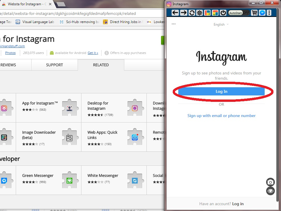 log in Instagram via chrome