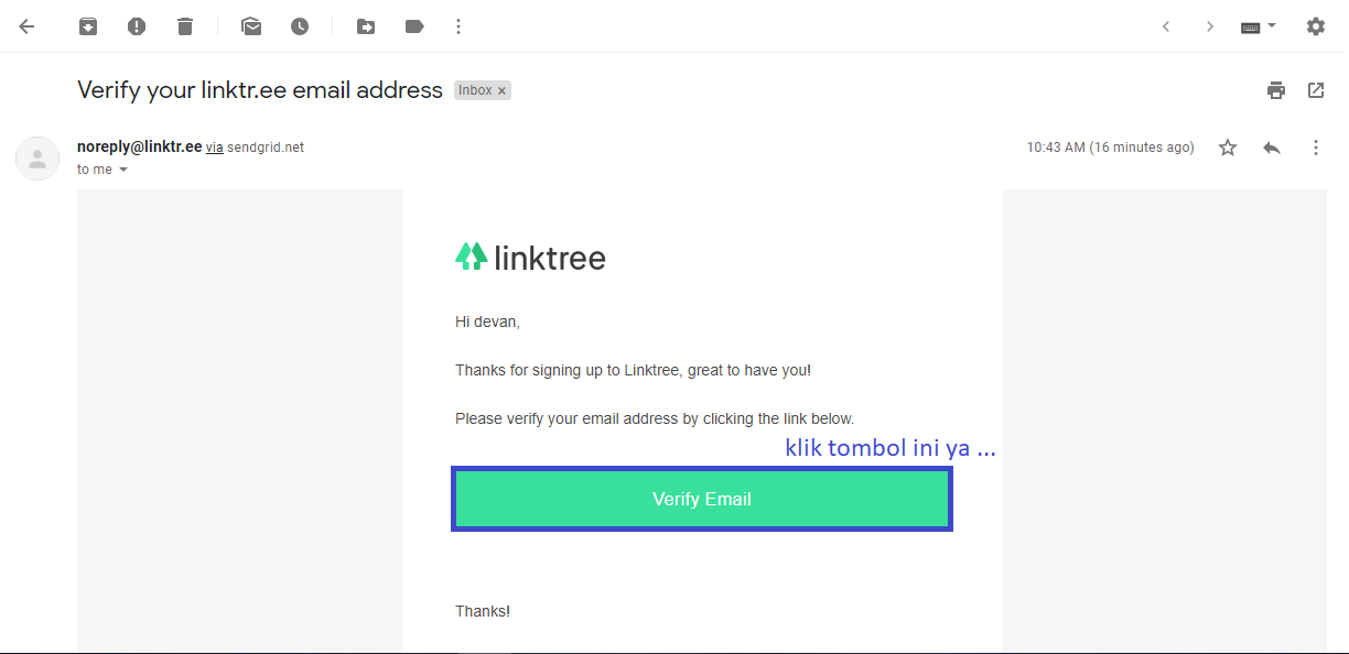 email konfirmasi linktree