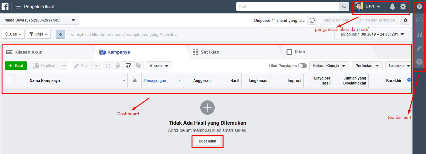 Halaman Utama Facebook Ads Manager