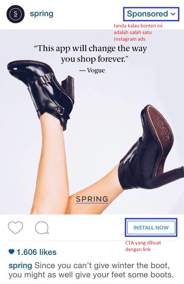 Salah satu format Instagram ads: single post format