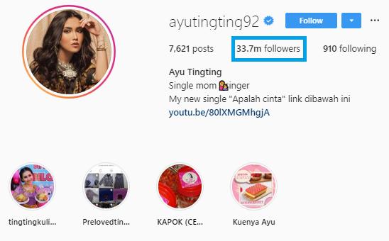 Ayu ting ting keuntungan followers Instagram