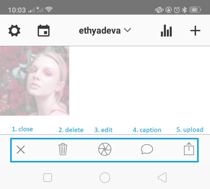 fitur dasar preview app untuk edit foto konten Instagram