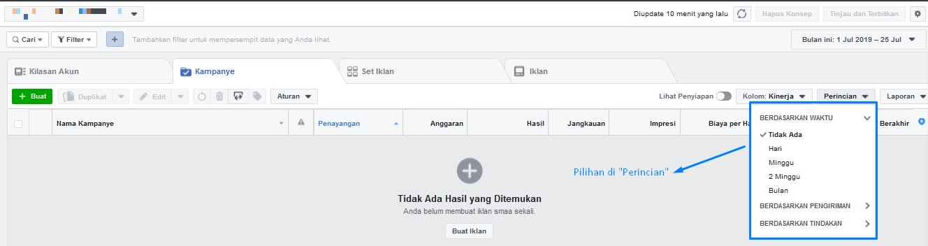 perincian Facebook Ads manager